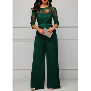 Women Lace Decoration Plus Size Jumpsuit