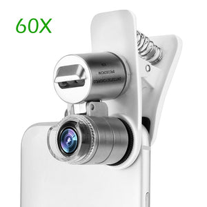 60X Optical Zoom Microscope Lens For Phone W/Clip