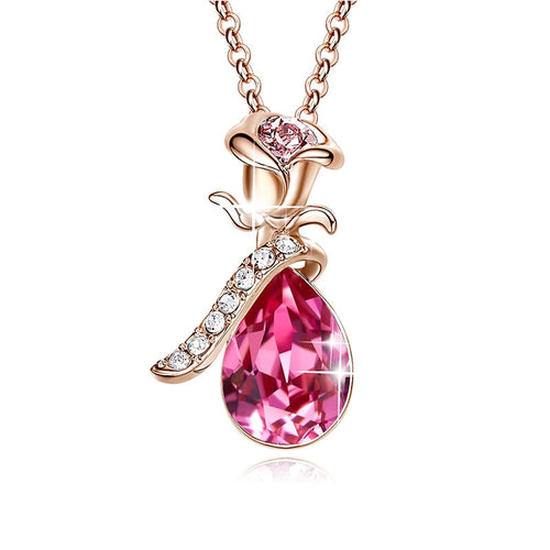 Rose Gold Swarovski Crystals Charm Necklace & Pendant