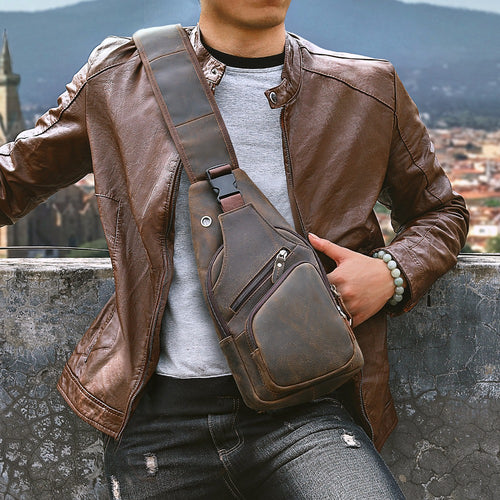 Crazy Horse Leather Crossbody Chest Sling Bag