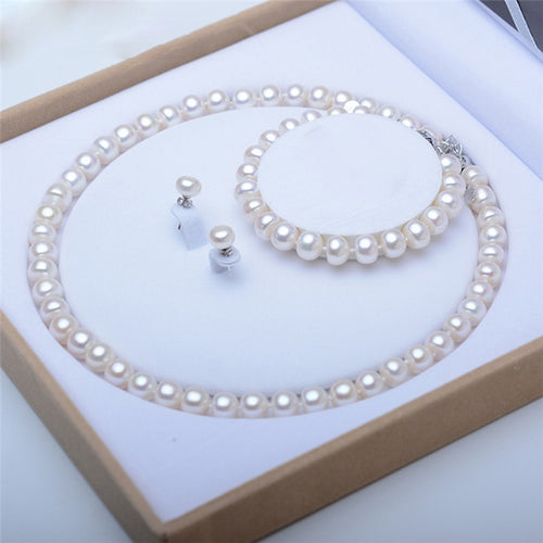 Natural Freshwater Pearl Silver Necklace + Earrings + Bracelet Set
