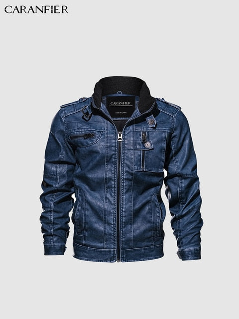 Motorcycle PU Leather Jacket Standing Collar