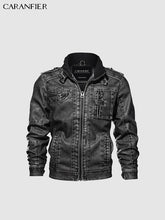 Load image into Gallery viewer, Motorcycle PU Leather Jacket Standing Collar