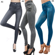 Load image into Gallery viewer, Printed Elastic High Waist Leggings Jeans