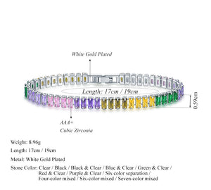 Gold Rainbow Bar Bracelet With Adjustable Chain