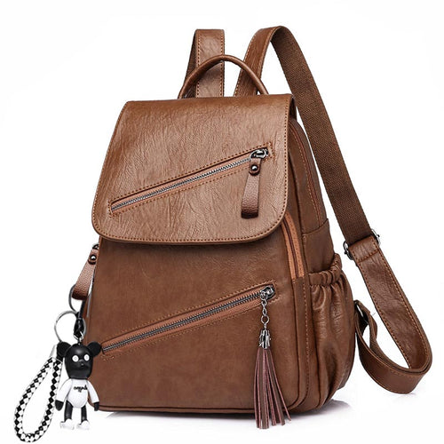 Lovely Tassel Soft PU Backpack For Women