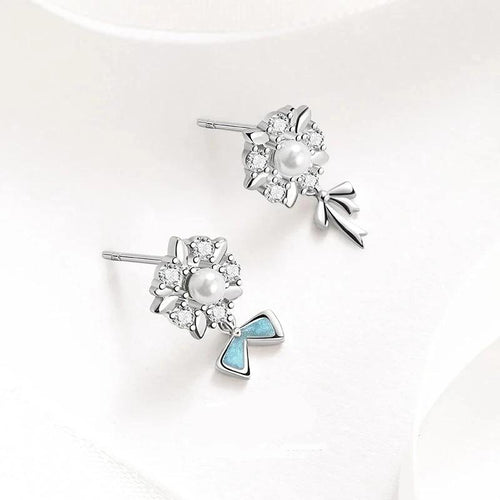 Flower Design Sterling Silver Wedding Earrings