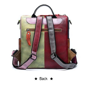 Retro Women Real Leather Shoulder Bag Backpack