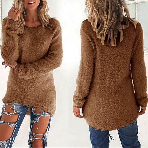 Fleece Long Sleeve Solid Color Sweater