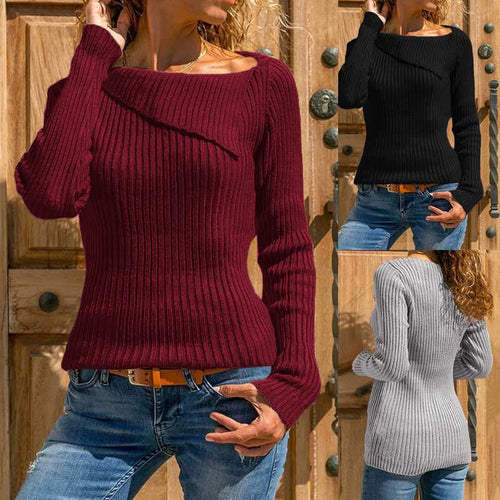 Knitted Asymmetric Neck Long Sleeve Sweater