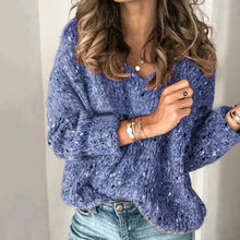 Load image into Gallery viewer, Knitted V Neck Long Sleeve Jumper For Women