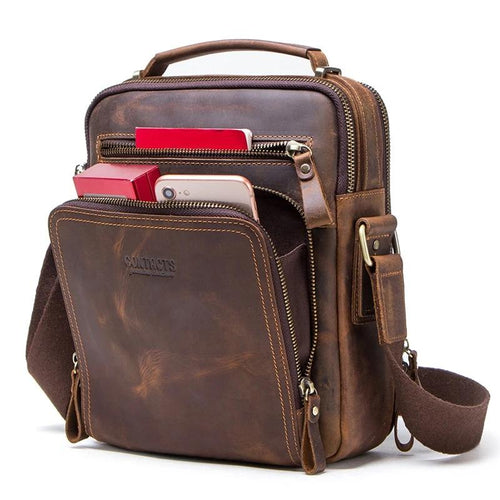 Crazy Horse Leather Vintage Men's Messenger Bag