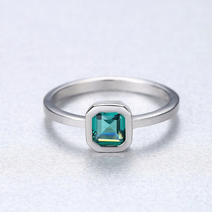 Square Topaz Sterling Silver Wedding Ring