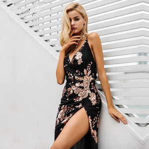 High Split Lace Up Halter Sequin Long Party Dress