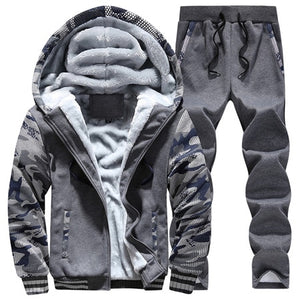 Tracksuit Set for Men Thick Fleece Hoodie and Pants