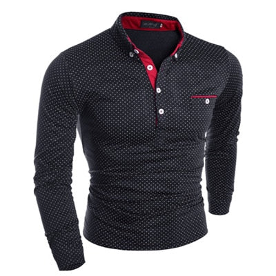 Men's Stand Collar Long Sleeve Dotted Polo Shirt
