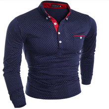 Load image into Gallery viewer, Men's Stand Collar Long Sleeve Dotted Polo Shirt