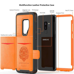 Slim Smart Flip Phone Case w/Wallet For Samsung