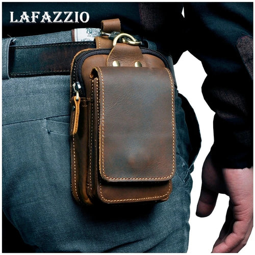 LAFAZZIO™ Real Cowhide Leather Vintage Design Waist Bag