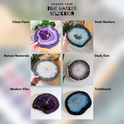 "Custom Agate Slab Wall Clock (8""-13"") 