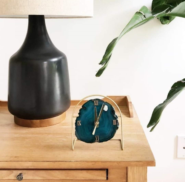 Teal Agate Desk Clock | Pick Your Slice - Mod North & Co.
