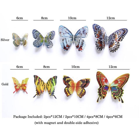 3d butterfly refrigerator stickers  - LaViemate