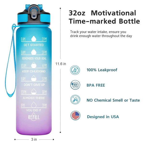 32 oz motivational water bottle with times _ LaViemate