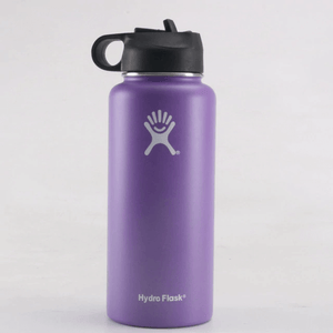 Purple 32 oz wide mouth hydro flask with straw lid- LaViemate