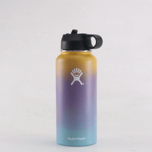 Load image into Gallery viewer, Yellow purple and blue 40 oz hydro flask wide mouth with straw lid- LaViemate
