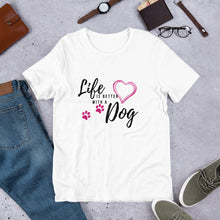 Load image into Gallery viewer, white jersey tee shirt with dog paint- LaViemate