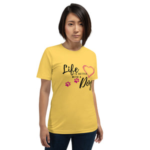 yellow jersey tee shirt with dog graphic - LaViemate