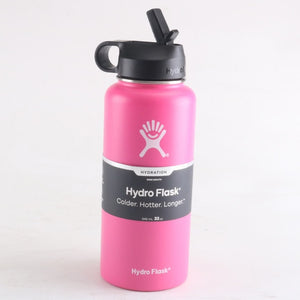 Pink hydro flask 32 oz wide mouth bottle with straw lid | LaViemate