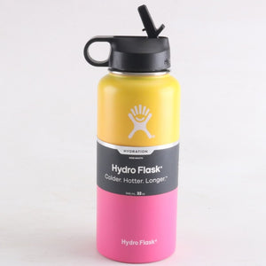 Yellow and pink wide mouth hydro flask 32 oz, 40 oz and 18 oz with straw lid - LaViemate