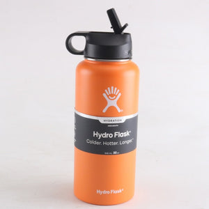 Orange hydro flask 32 oz with straw lid - LaViemate