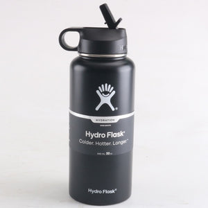 Black hydro flask 18 oz with straw lid | LaViemate