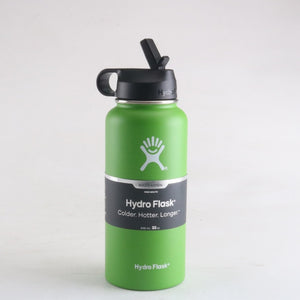 Green  32 oz hydro flask wide mouth with straw lid - LaViemate