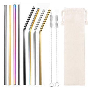 Reusable Metal Straws With Case And Cleaner
