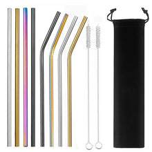 Load image into Gallery viewer, Reusable Metal Straws With Case And Cleaner