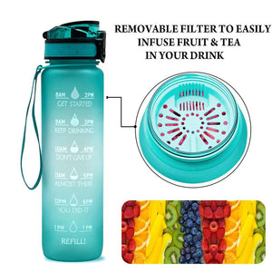 Sport motivational water bottle with filter 32 oz - LaViemate
