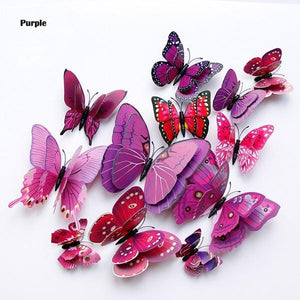 3D purple butterfly girl wall stickers - LaViemate