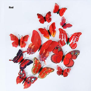 3D red butterfly wall stickers - LaViemate