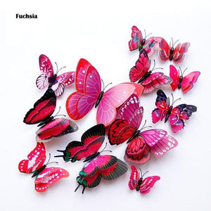 3D fuchsia butterfly wall decal- LaViemate