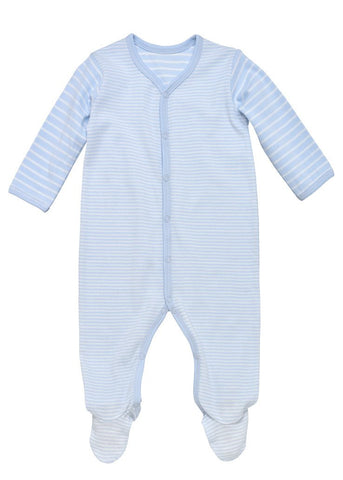 Snap front footie- pale blue stripes