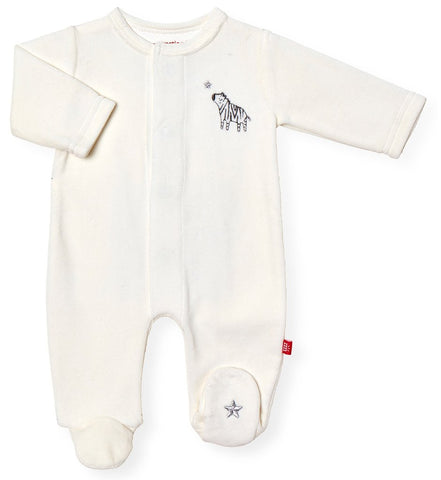 Little one velour magnetic footie