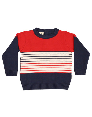 Autumn Class Knit Sweater (Red/Blue)