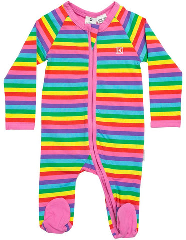 bright rainbow zip romper