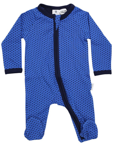 Royal navy with polka dots zip romper