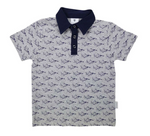Fighter Jet Polo Top (Navy & Grey)