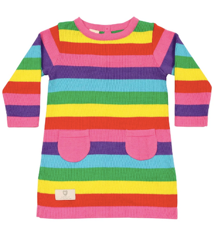 Rainbow Stripes A Line Knit Dress