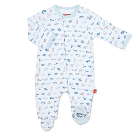 Airplanes Organic Cotton Magnetic Footie